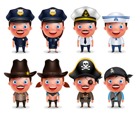 Police, seafarers, captain, sheriff, cowgirl and pirates vector character set isolated in white. Vector illustration.