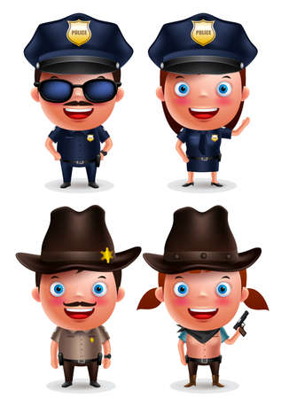 policewoman: Policeman, policewoman, sheriff and cowgirl vector characters set with friendly smile with uniform isolated in white. Vector illustration.