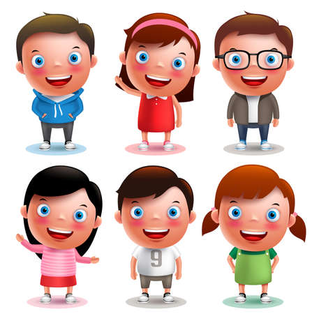 Kids vector characters boys and girls set with happy smile and different outfits and hairstyle isolated in white background. Vector illustration.