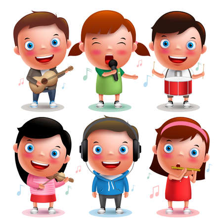 Kids vector characters playing musical instruments like guitar, violin, drums, flute and listening music isolated in white background with notes. Vector illustration.