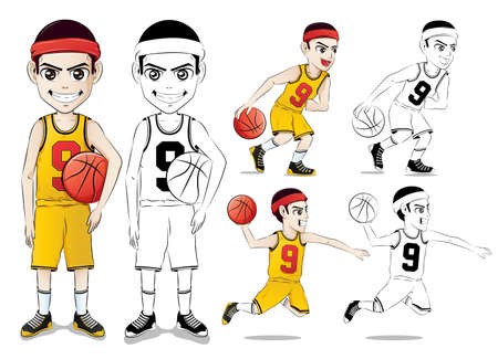 yellow line: Basketball Player Vector Character Set  with Line Drawing Version Wearing Yellow Jersey Number Nine in Isolated in White Background
