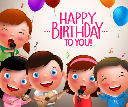 sing: Kids vector characters singing happy birthday and happy playing musical instruments. Vector illustration.