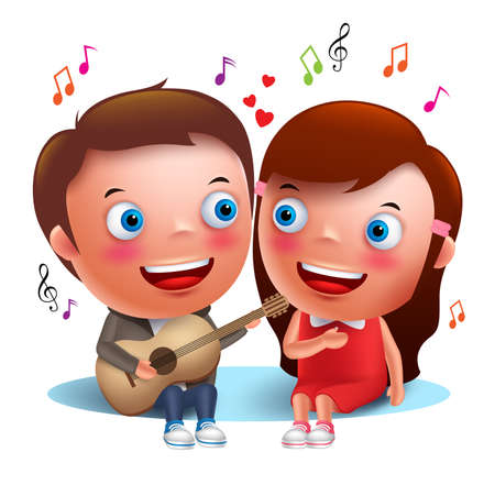 Two young kids couple happy singing serenade with guitar for valentines while sitting isolated in white background. Vector characters.