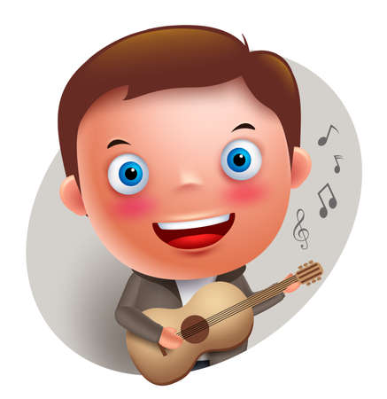 guy playing guitar: Young guitarist player vector character singing and holding guitar isolated in white background. Vector illustration. Illustration