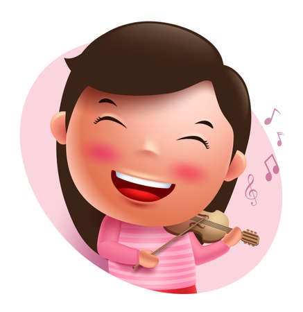 violinist: Young violinist vector character singing and holding violin isolated in white background. Vector illustration. Illustration