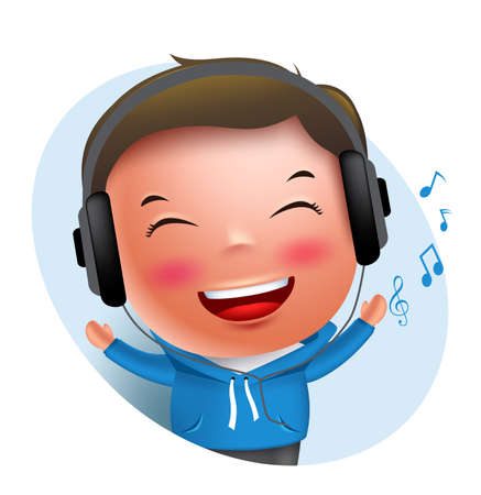Young boy vector character listening to music in headset while singing isolated in white background. Vector illustration. Illustration