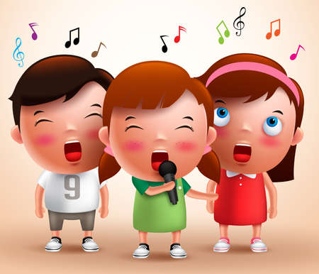 holding notes: Singing kids vector characters holding microphone and performing with flying notes in a background. Vector illustration.
