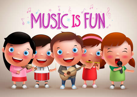 Kids playing musical instruments vector characters while singing fun music. Vector illustration.