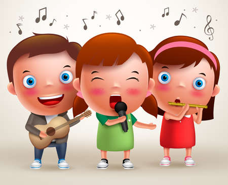 Vector character kids singing and playing guitar and flute while standing and performing in front of stage. Vector illustration. Illustration