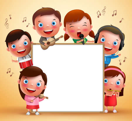 Kids vector characters playing musical instruments and singing with blank white board for text. Vector illustration. Vettoriali