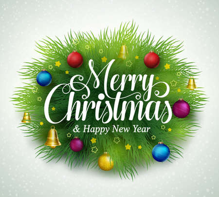pine decoration: Merry christmas title in green pine leaves with decoration of hanging colorful christmas balls, bells and stars in snow white background. Vector illustration