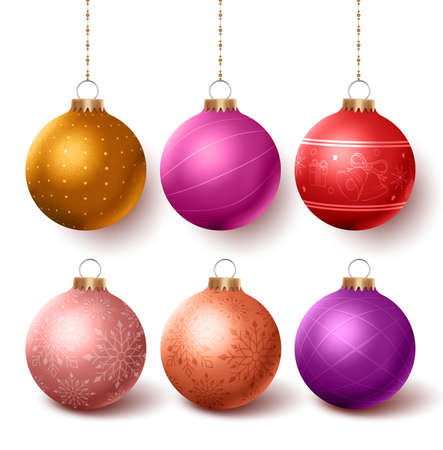 color balls: Christmas balls colorful decoration  set hanging in isloated white background with different designs. Vector illustration