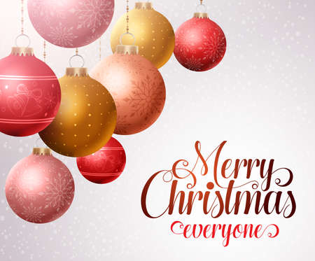 christmas balls: Merry christmas background with hanging colorful christmas balls and white space for greetings. Vector illustration.