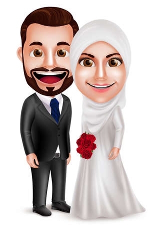 Muslim couple vector characters as bride and groom wearing white wedding dress holding bouquet standing side by side isolated in white background. Vector illustration. Vettoriali