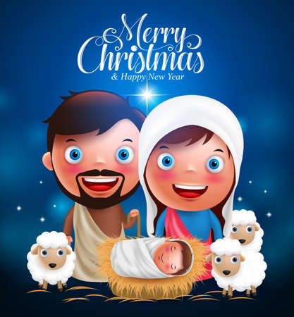 Merry Christmas greetings with jesus born in manger, belen with joseph and mary vector characters  in christmas night. Vector illustration