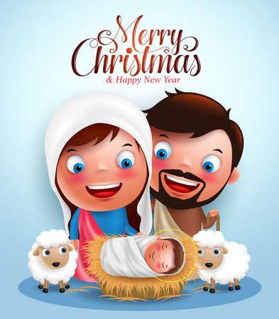estrella de belen: Belen con Jesús nacido en el pesebre, belén con José y María personajes de vectores en la noche de Navidad con saludos Feliz Navidad. ilustración vectorial Vectores