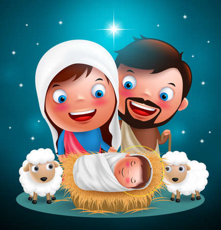 Holy night when jesus born in manger with joseph and mary vector characters for christmas holiday design with stars in background. Vector illustration