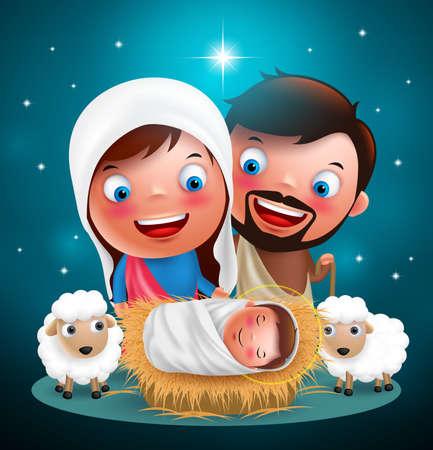 notte santa in cui Gesù nacque a manger con Giuseppe e vettoriale Maria per la progettazione vacanze di Natale con le stelle in background. illustrazione di vettore Vettoriali