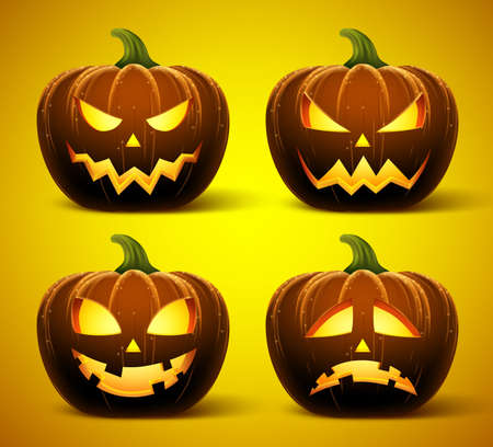 pumkin: Halloween pumpkins in vector with set of different faces for icons and decorations in dark background. Vector illustration.