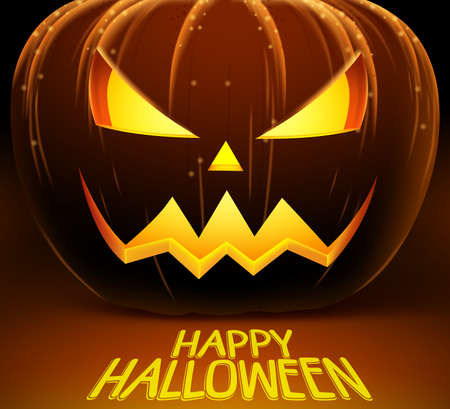 Halloween vector background with scary pumpkin and lights of horror. Vector illustration with happy halloween greetings.