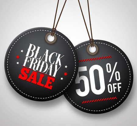 Black Friday sale vector price tags hanging in white background with half price discount. Vector illustration.  イラスト・ベクター素材