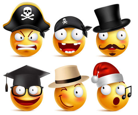 toothless: Smiley face vector set of funny toothless pirate, magician, graduate and santa claus with hats isolated in white. Vector illustration.
