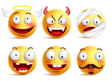 toothless: Set of  smileys with funny faces like angel, demon, patient, injured and toothless smiley isolated in white background.  illustration.