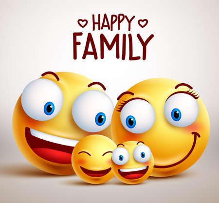 幸せな家族の笑顔の顔文字を父、母と子供たちの笑顔をひとつに結合します。 イラスト。