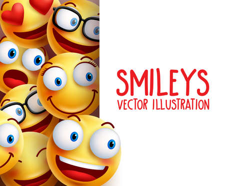 Funny smiley face  characters happy smiling in the background with empty white board space for text. illustration.