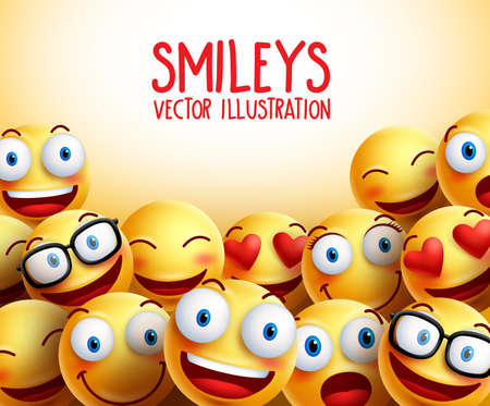 Smiley faces  background with different facial expressions and empty space for text.  illustration.