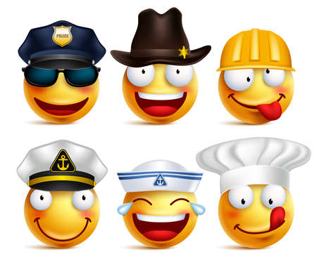 Smiley face  set of professions with hats like police, seafarer, chef and construction worker isolated in white background.  illustration.