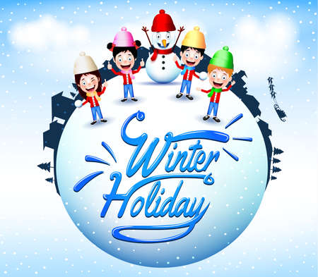 winter snow: Winter Holiday With Happy Children And Snowman Mascot Standing in a Globe Illustration Illustration