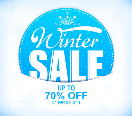 Winter Sale Up To 70 Percent Off Promotional Design with Snow Illustration