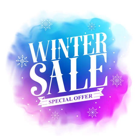 Winter sale special offer text design for holiday promotion in colorful watercolor style background. illustration.
