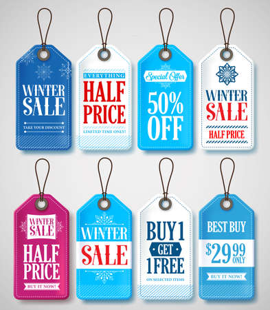 winter colors: Winter Sale Tags Set for Season Store Promotions with Labels Hanging in Background with Blue and White Colors. Vector Illustration.