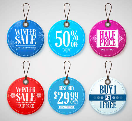 winter colors: Winter Sale Tags Set for Season Store Promotions with Labels in Circle Shape with Blue, Red and White Colors. Vector Illustration.