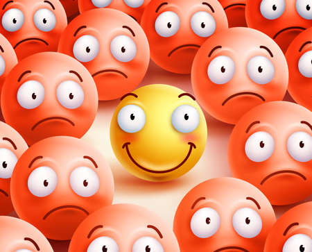 Smiley  character the only  smile face showing happiness and positivity in the crowd of unhappy smileys.  illustration.