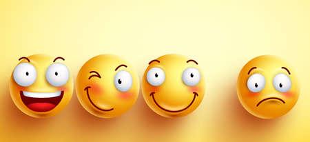Caras divertidas de los emoticonos con sonrisa feliz con apartados uno infeliz y triste en el fondo amarillo. ilustración. Ilustración de vector