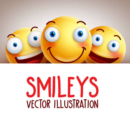 Happy smileys funny background with different smile and white empty blank space for text. illustration.