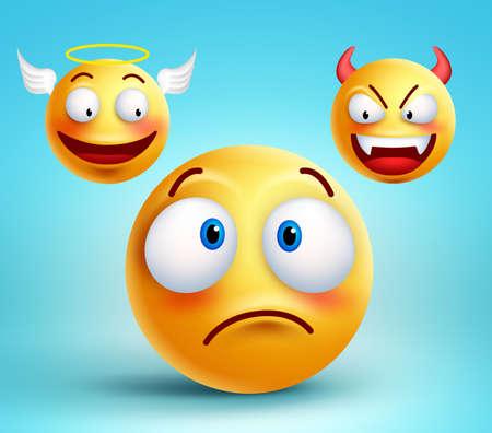elección sonriente divertido pensar carácter entre el bien y el mal demonio ángel de la decisión. ilustración.