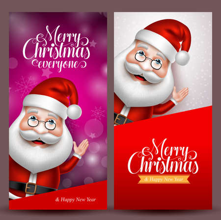 Christmas background and vector banners with santa claus waiving hand in colorful background for christmas greetings. Vector illustration. Çizim