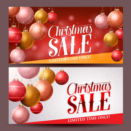 Christmas sale banners vector design with christmas balls elements hanging in red background for holiday discount promotions. Vector illustration.