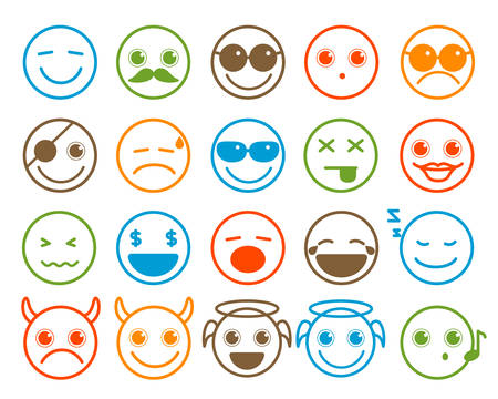 head shape: Smileys emoticon icons set in flat line circle button with colorful facial expression in white background. illustration.