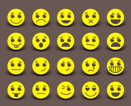 circle icon: Yellow smiley face icons and emoticons with facial expressions and emotions in flat paper cut circle. illustration.