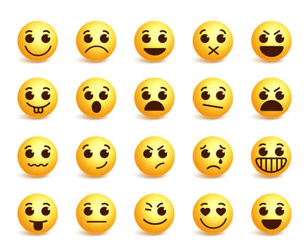 Smiley face icons set with funny facial expressions in yellow color isolated in white background. illustration