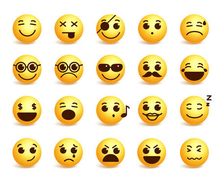 emoticons: Smiley faces emoticons set with funny facial expressions in yellow color isolated in white background. illustration Illustration