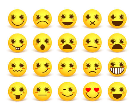 circle icon: Smileys face cute emoticon set with happy facial expressions in yellow icon circle isolated in white background. illustration Illustration