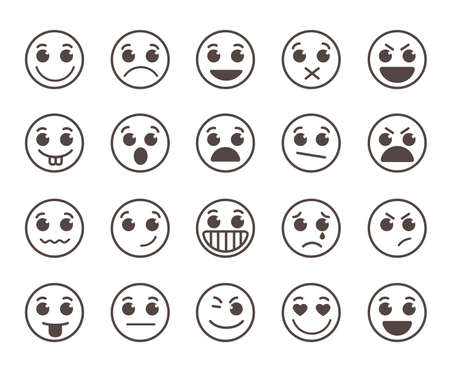emoticons: Smiley face flat line icons set with funny facial expressions in black circle isolated in white background. illustration.