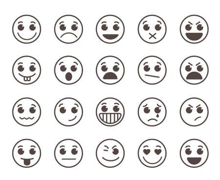 Smiley twarzy płaskie ikony linii zestaw z zabawnymi wyrazami twarzy w czarnym okręgu samodzielnie w białym tłem. ilustracja.