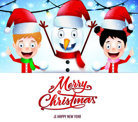 christmas poster: Christmas Message on White Background with Smiling Kids and Snowman Illustration